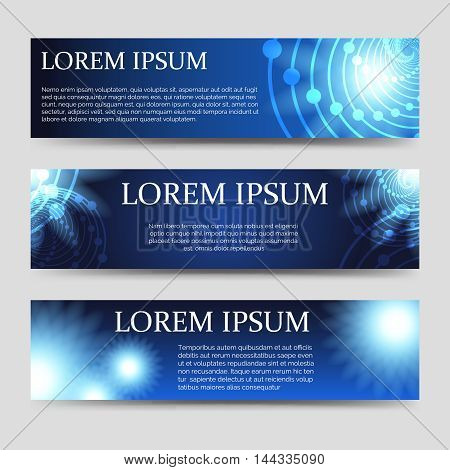 Horizontal abstract web banners set vector illustration