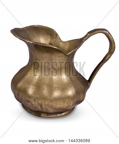 Vintage brass copper old pint or tankard for beer isolated on white
