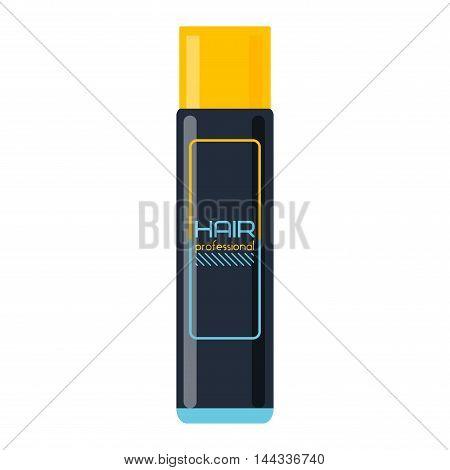 Illustration depicting single hair spray aerosol can arranged over white. Plastic bottle styling tool hair spray fashion, style, perfume. Woman deodorant, salon can ozone hair spray tool vector.