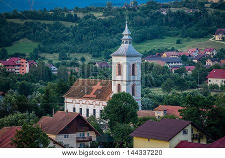Aerial view of village of Bran commune area in Romania