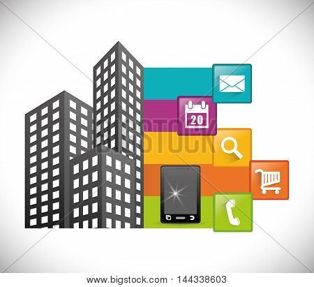 smartphone city buildings mobile apps application online icon set. Colorful and flat design. Vector illustration