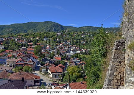 Panoramic view over city from old castle in the Jajce,Bosnia and Herzegovina poster