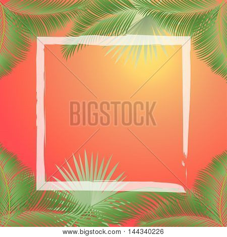 Vector tropical palm leaves, jungle leaves set frame on sunset background. Leaves of palm tree. Palm Leaf border. Palm leaves vintage. Silhouette of palm trees leaves at sunset. Hand Palm Drawn.