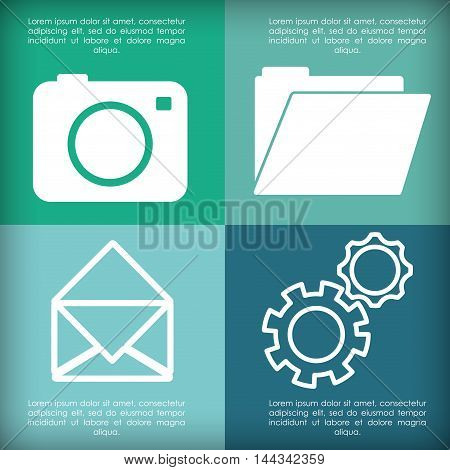 camera envelope file gears mobile apps application online icon set. Colorful and flat design. Vector illustration