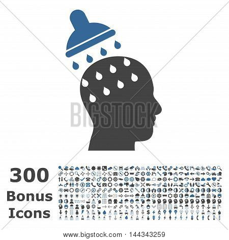 Brain Washing icon with 300 bonus icons. Vector illustration style is flat iconic bicolor symbols, cobalt and gray colors, white background.