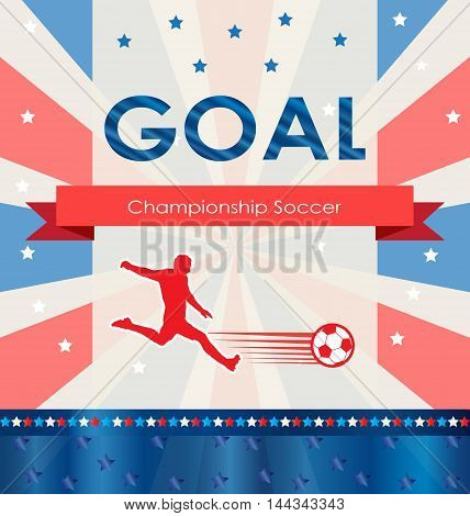 Goal. Goal background. World 2016 Abstract soccer goal illustration. Championship soccer player. Football goal icon. Goal soccer card. Goal logo. American 2016 Football vector for Art, Print, Web. Retro style, vintage