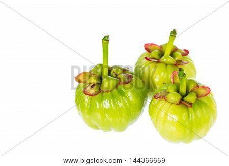Garcinia Cambogia Fresh Fruit On White Background. Fruit For Diet And Good Health.