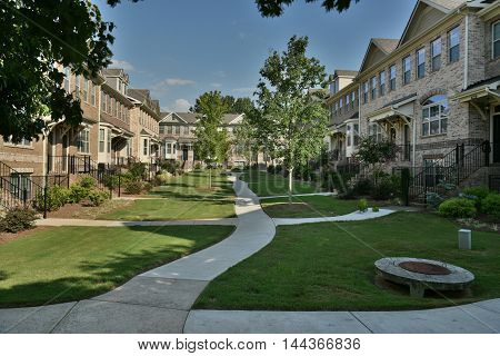 Typical townhouses on Georgia suburbs with a courtyard in the middle