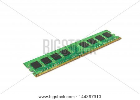 Computer DDR RAM memory module isolated on white background selective focusing. clipping path for use