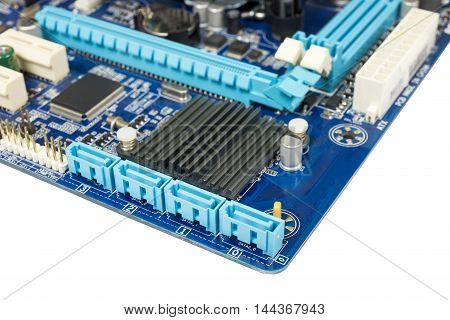 Close-up detail on a SATA port for Hard Disk SSD Solid State Drive or DVD-ROM in scheme mainboard isolated on white background. clipping path