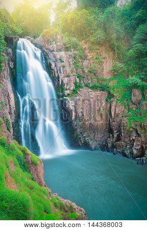 Beautiful fantastic deep forest waterfall at Haew narok waterfall khao yai national park Thailand