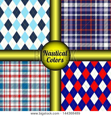 Set of four seamless argyle & tartan plaid patterns in nautical/naval palette. Classic marine look prints for textile design, wrapping & scrapbooking paper & vintage frames & backgrounds