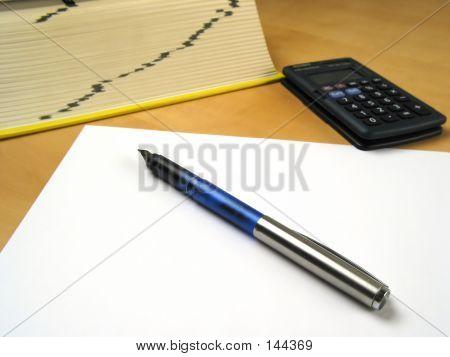Pen Lying On Blank Paper Ii