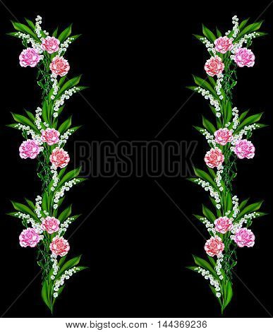 Bouquet of flowers carnation isolated on black background.