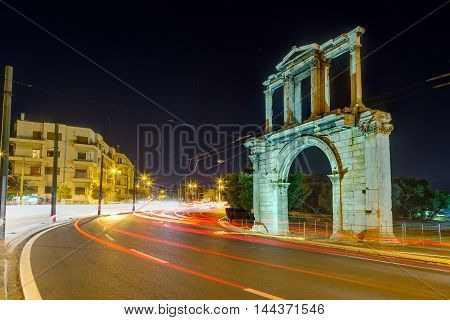 The Arch of Hadrian at night, Athens, Greece