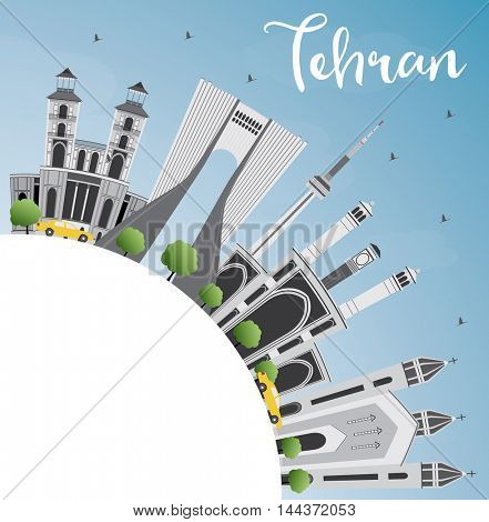 Tehran Skyline with Gray Landmarks, Blue Sky and Copy Space. Business Travel and Tourism Concept with Historic Buildings. Image for Presentation Banner Placard and Web Site.