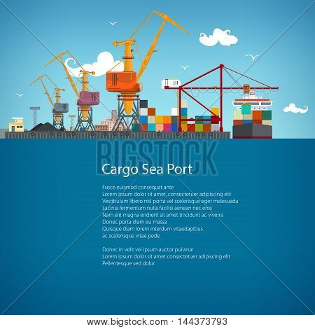 Sea Port ,Unloading of Cargo Containers from the Container Carrier ,Cranes in Port Load Containers on the Container Ship or Unload, Poster Brochure Flyer Design , Vector Illustration