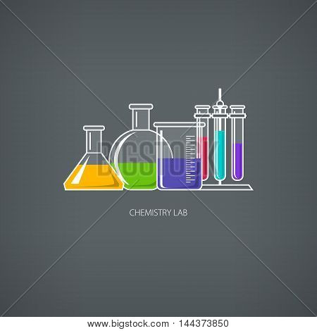 Flasks Beakers and Test-tubes, Chemical Laboratory Equipment on Gray Background, Chemistry Lab ,Vector Illustration
