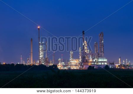 Petrochemical industry power station in evening of Thailand