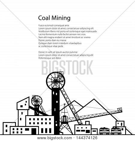 Coal Mining, Complex Industrial Facilities with Spoil Tip and with Rail Cars ,Coal Industry, Poster Brochure Flyer Design ,Vector Illustration