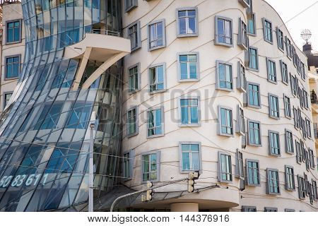 PRAGUE, CZECH REPUBLIC - MAY 8, 2015: Dancing House Deconstructivist original administrative office building near the northern limits of the city center. May 8, 2015. Prague, Czech Republic.