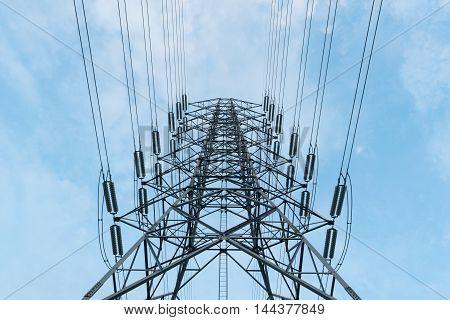 Transmission High Voltage Electricity Pylon With Blue Sky Background