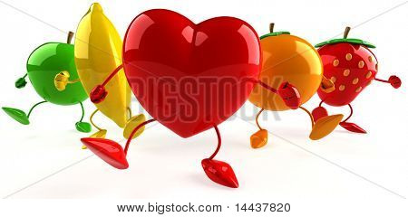 Heart and fruits