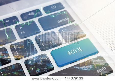 401K : Close up green button keyboard computer
