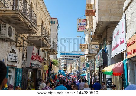 BETHLEHEM, PALESTINE - JUNE 2, 2015: The streets of the old city of Bethlehem.