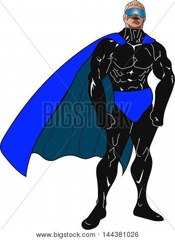 Superhero in black with blue cape and glasses
