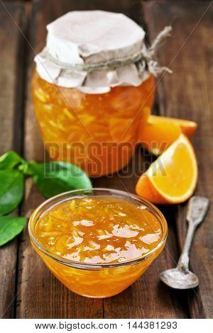 Jam from orange fruits focus on jam in bowl