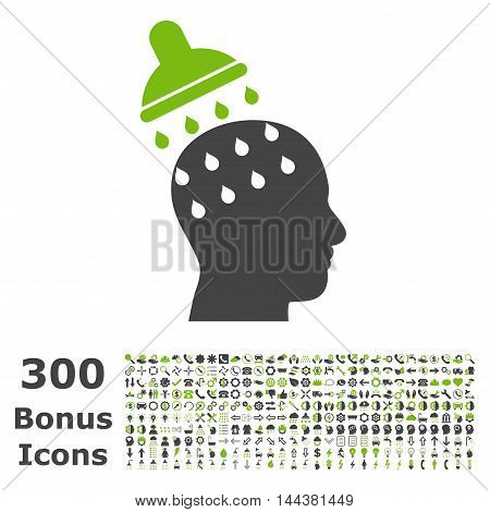 Brain Washing icon with 300 bonus icons. Vector illustration style is flat iconic bicolor symbols, eco green and gray colors, white background.