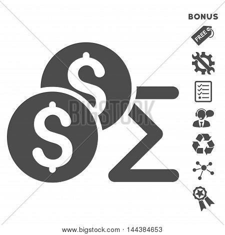 Coin Summary icon with bonus pictograms. Vector illustration style is flat iconic symbols, gray color, white background, rounded angles.