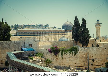 JERUSALEM, ISRAEL - JUNE 1, 2015: The Western Wall, Wailing Wall or Kotel. One of the most important religious shrines