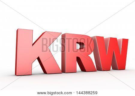 3d illustration sign krw