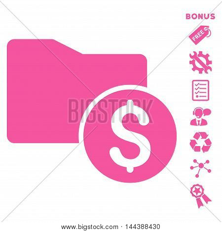 Money Folder icon with bonus pictograms. Vector illustration style is flat iconic symbols, pink color, white background, rounded angles.