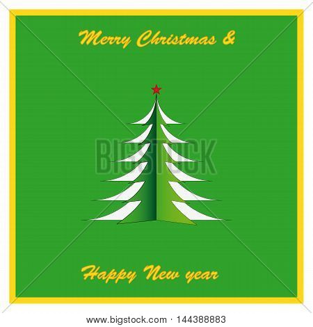 New beautiful greeting card for new year and Christmas. Christmas tree with a star.
