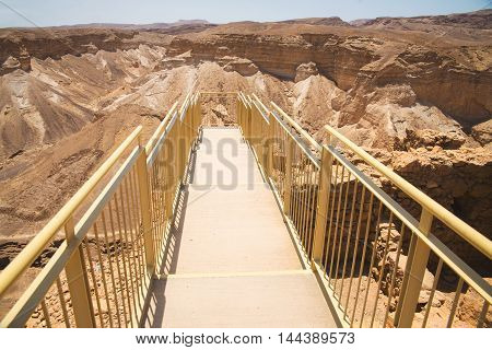 Top view from Masada fortress to the Judaean desert
