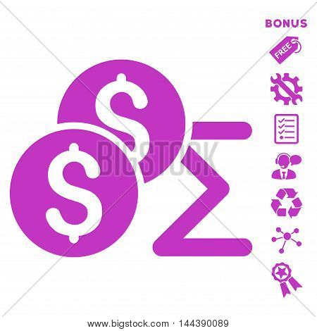 Coin Summary icon with bonus pictograms. Vector illustration style is flat iconic symbols, violet color, white background, rounded angles.