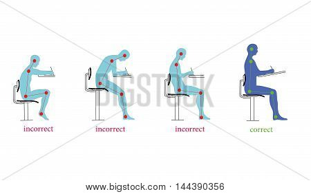 correct and incorrect posture when writing. vector illustration poster
