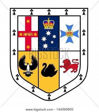 The coat of arms escutcheon shield of the Australian coat of arms