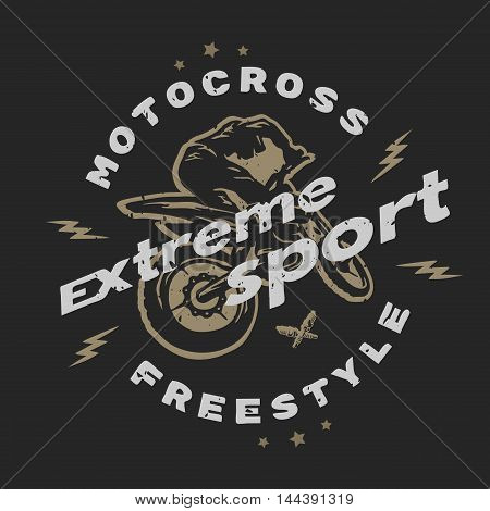 Motocross extreme sport. Emblem, t-shirt design. For a dark background.