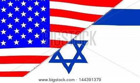 The Jewish and American flags sectioned together