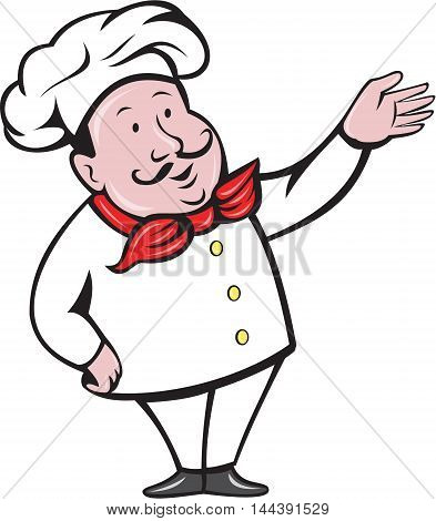 Illustration of a french chef cook baker with moustache wearing hat and bandana on neck standing with arm out welcoming greeting viewed from front set on isolated white background done in cartoon style.