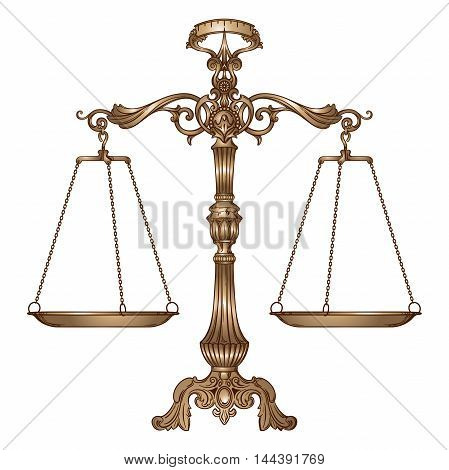 Vector illustration antique ornate balance scales isolated on white background. Justice and making decision concept. Even odds being in balance.