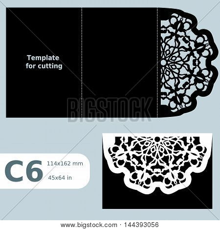 C6 paper openwork greeting card template for cutting lace invitation card with fold lines object isolated background laser cut template vector illustration poster