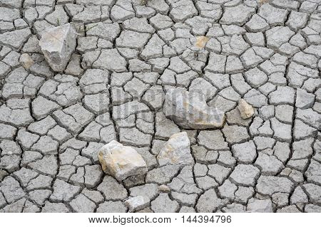 Cracked mud with rocks in a pond Camargue France