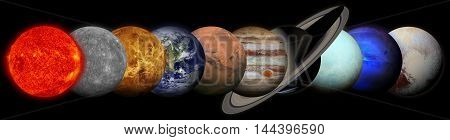 Solar system. Planets on black background. Sun Mercury Venus Earth Mars Jupiter Saturn Uranus Neptune Pluto. Elements of this image furnished by NASA.