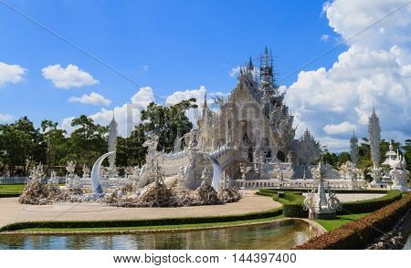 Wat Rong Khun on repairing situation, Beside view.