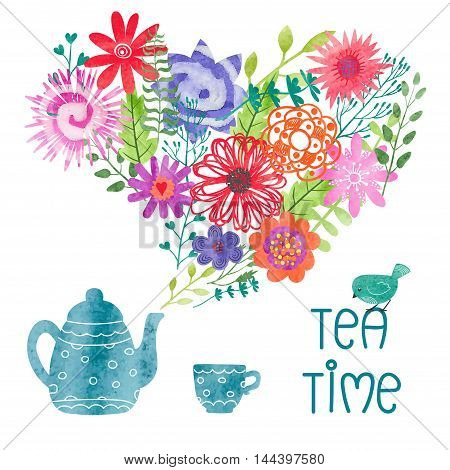 Watercolor tea time colorful vector illustration with teapot, cup and steam as flowers and leaves.